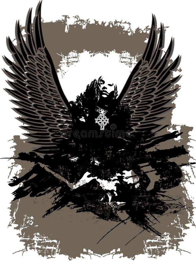 Ange tombé foncé mystique illustration de vecteur