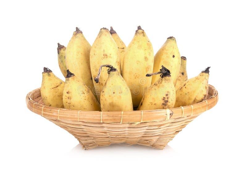Angebaute Banane in der Bambusplatte stockfotos