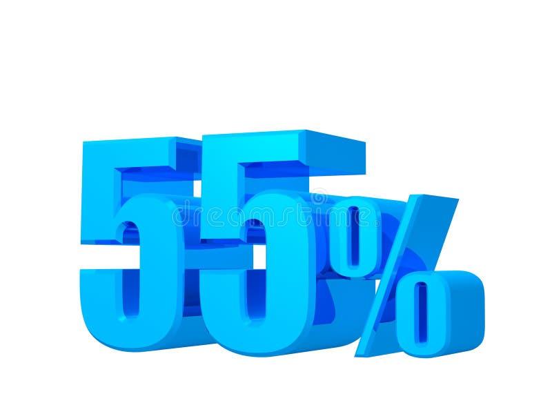 55% Angebot, Angebotspreis, Rabatt, fünfundfünfzig Prozent Verkaufsförderung, Wiedergabe 3D auf weißem Hintergrund stock abbildung