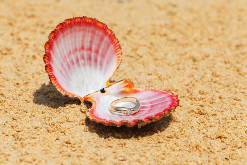 Angebot der Verbindung Verlobungsring in den Oberteilen auf dem Sand auf t lizenzfreie stockbilder