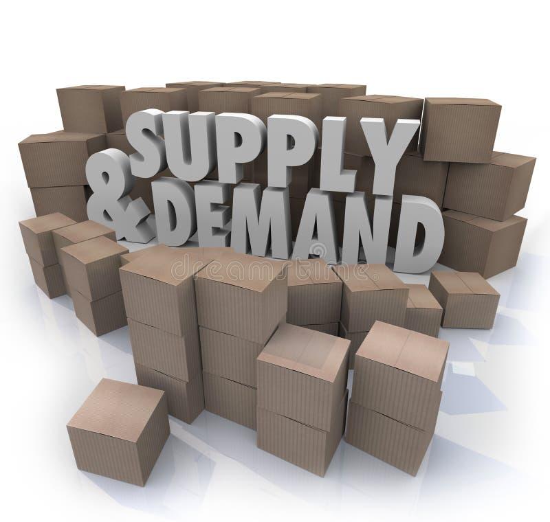 Angebot-und der Nachfrage-3d Wort-Pappschachtel-Inventar stock abbildung