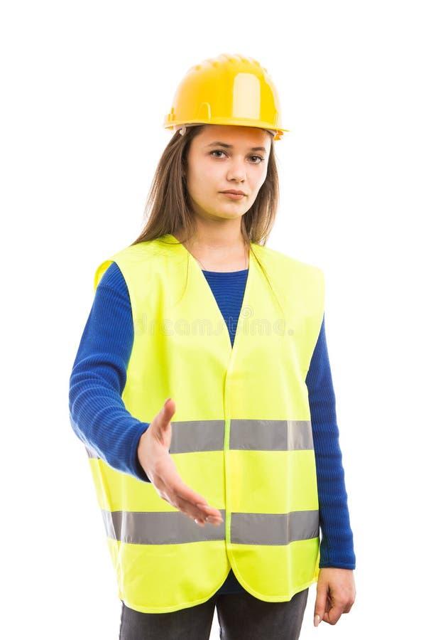 Angebothändedruck des Ingenieurs der jungen Frau lizenzfreies stockbild
