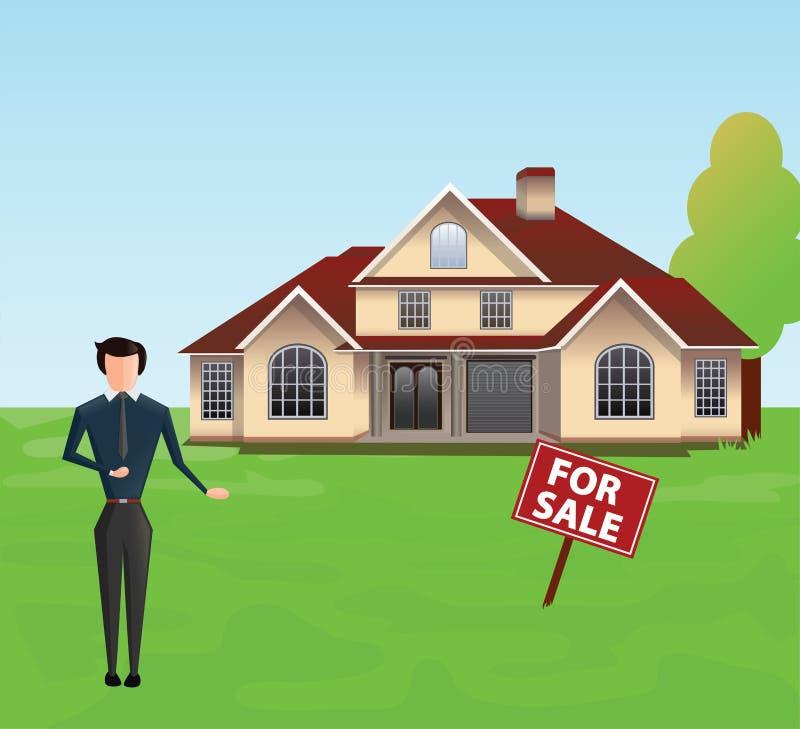 Angebothaus der Immobilienagentur Männlicher Vermittler mit für dem Verkaufszeichenbrett, das auf einem Hintergrund des Hauses st stock abbildung
