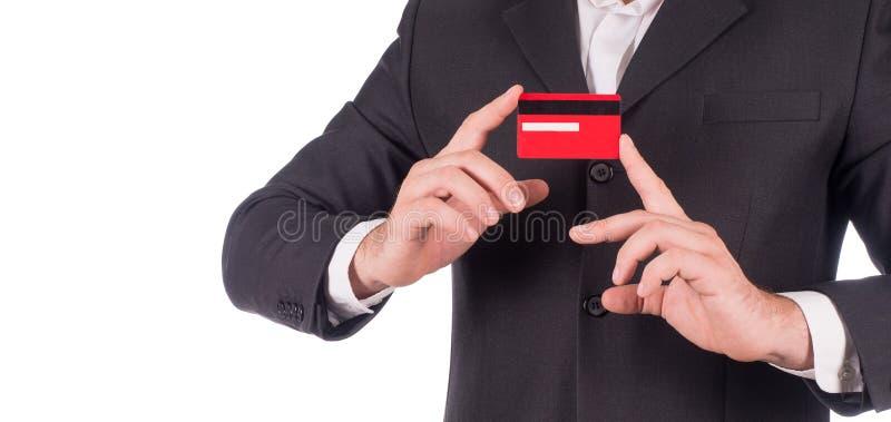 Angebotkarte des Geschäftsmannes, lokalisiert über weißem Hintergrund lizenzfreies stockfoto
