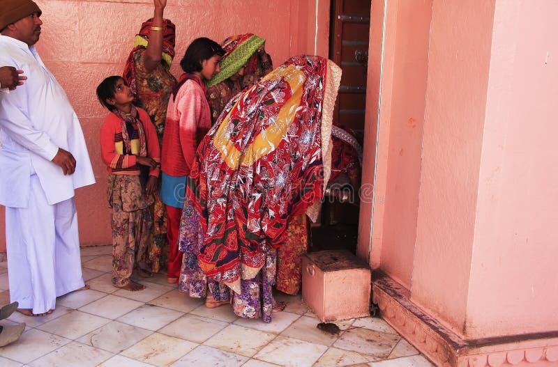 Angebotlebensmittel der indischen Familie für Ratten, Karni Mata Temple, Deshnok lizenzfreie stockfotografie