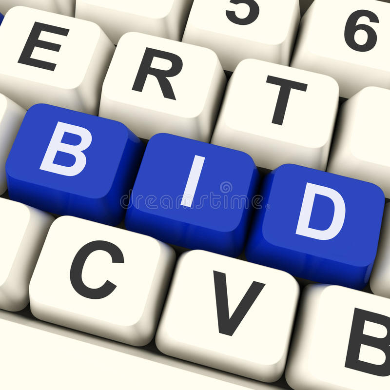 Angebots-Schlüssel zeigen online bieten oder Auktion lizenzfreies stockbild