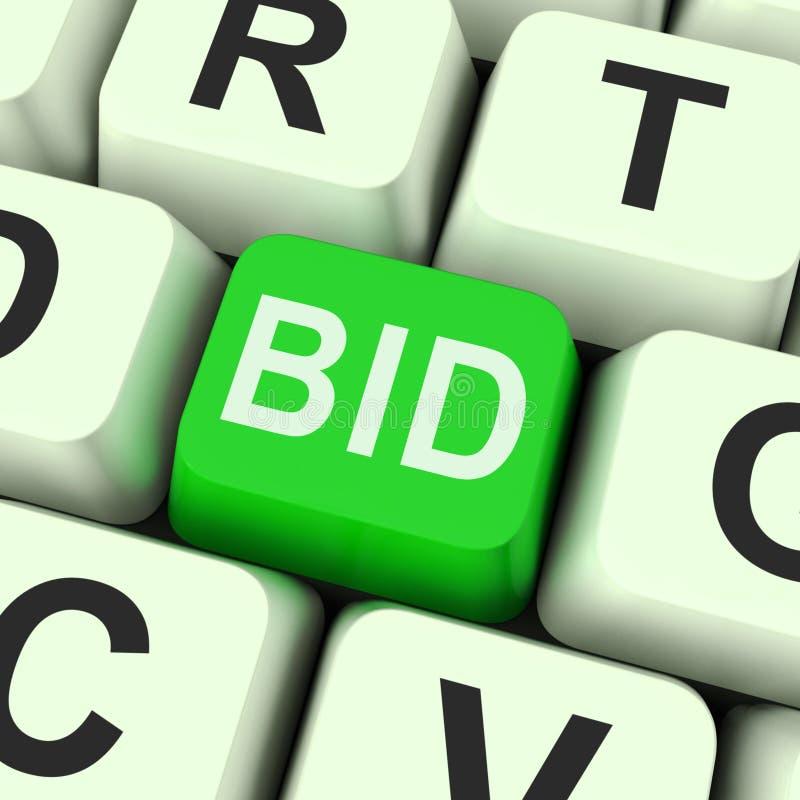 Angebots-Schlüssel zeigt on-line-Auktion oder das Bieten stockfoto