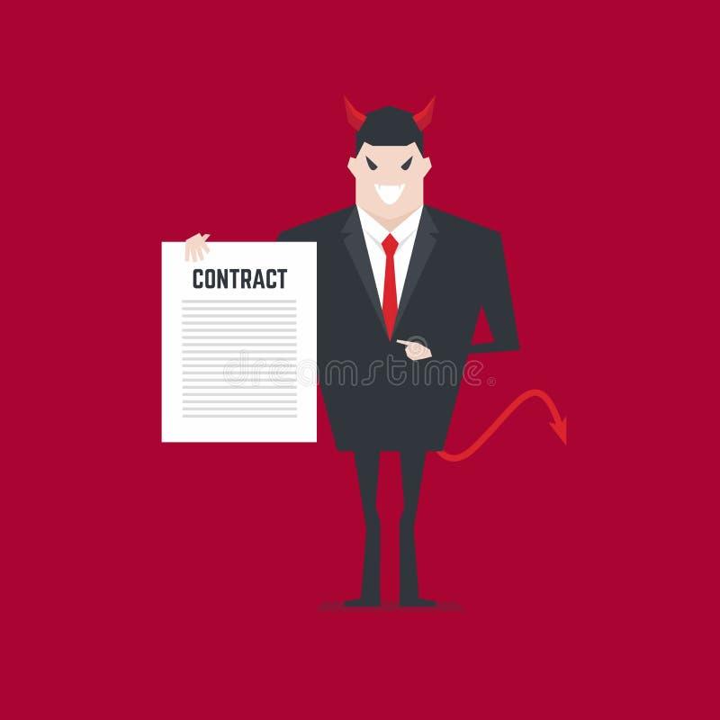 Angebotvertrag des schlechten Geschäftsmannes vektor abbildung