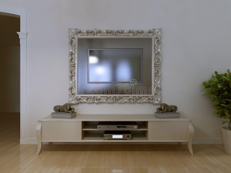 Angebracht in Schönheitsrahmen Fernsehen stock abbildung