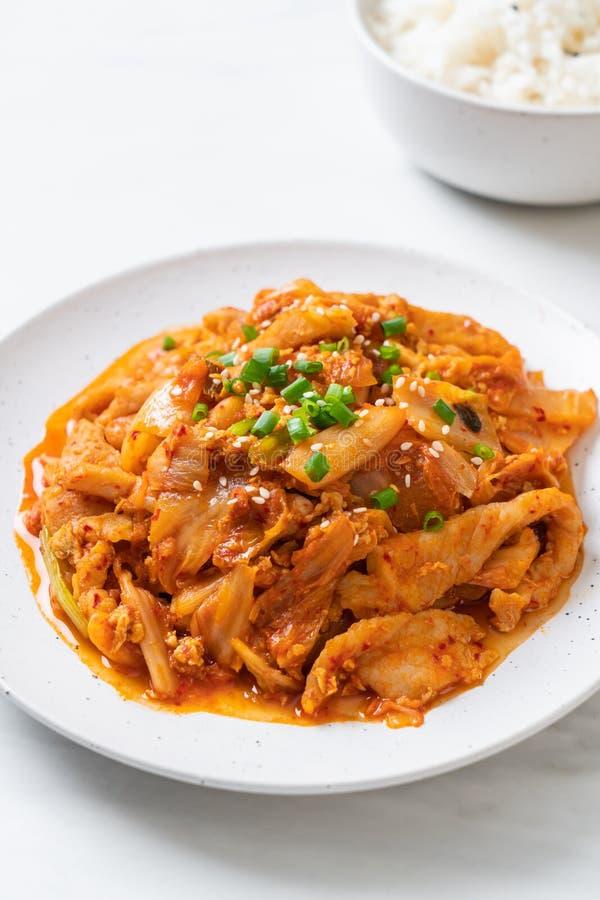 Angebratenes Schweinefleisch mit kimchi stockfoto