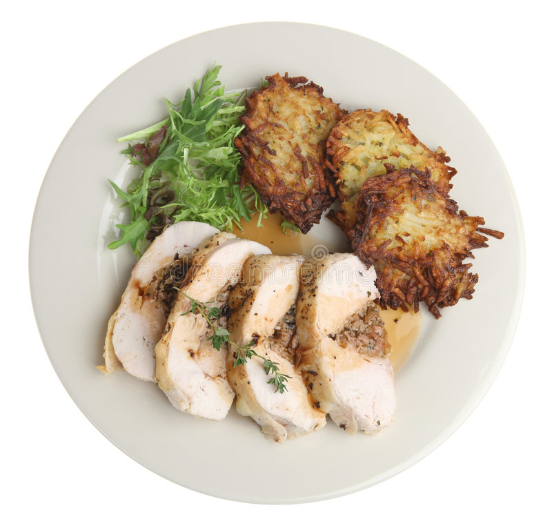 Angefülltes Hühnchen-Brust-Abendessen stockfotografie