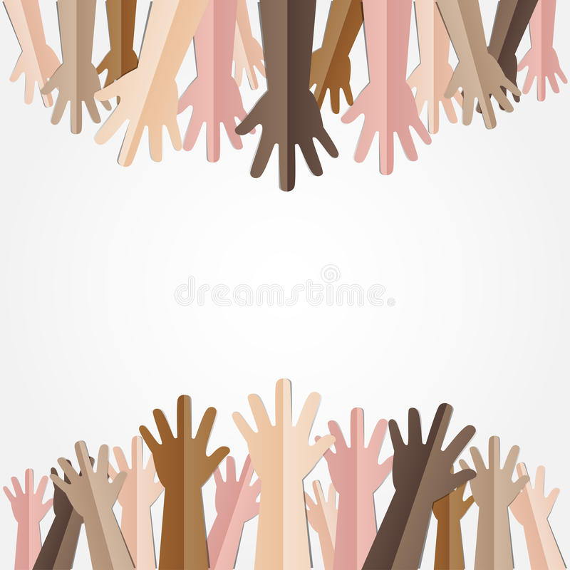 Angehobene Hände oben zusammen mit unterschiedlichem Hautton vieler Leute stock abbildung