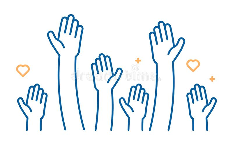 Angehobene Handreichungsvektorikone Illustration für Freiwilligen und Nächstenliebearbeit in der flachen Art mit den Armen und de vektor abbildung