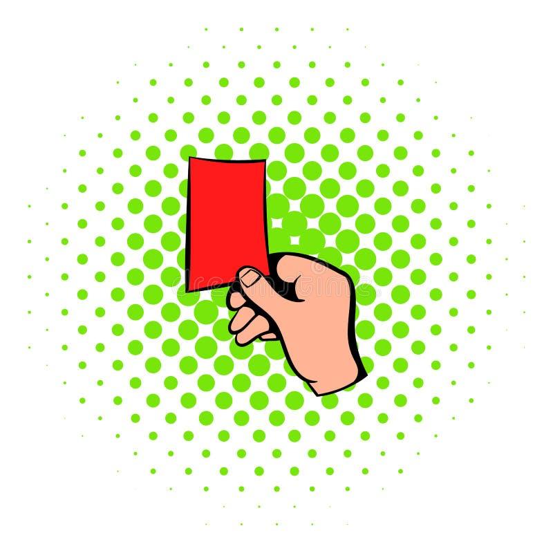 Angehobene Ikone der roten Karte, Comicsart lizenzfreie abbildung