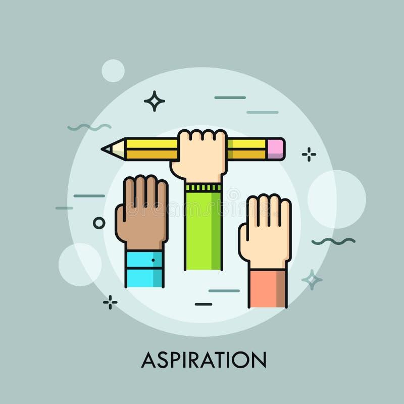 Angehobene menschliche Hände Konzept der Aspiration, Ehrgeiz des Ziels erzielend, Absicht, Bemühung, Bemühung, Karrierewachstum u lizenzfreie abbildung
