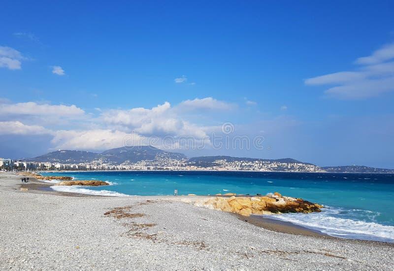 Angel';s海湾,尼斯,法国 免版税库存照片