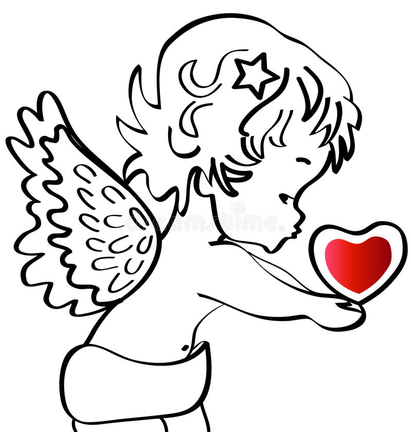 Angel. With a heart in hands vector illustration