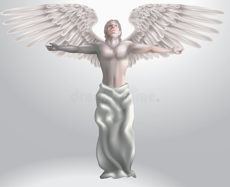 Angel. Illustration of angel with arms outstretched, meshes used stock illustration