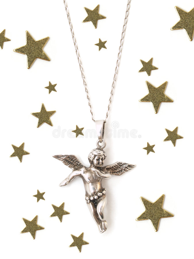 Angel. Necklace with angel and stars stock photos
