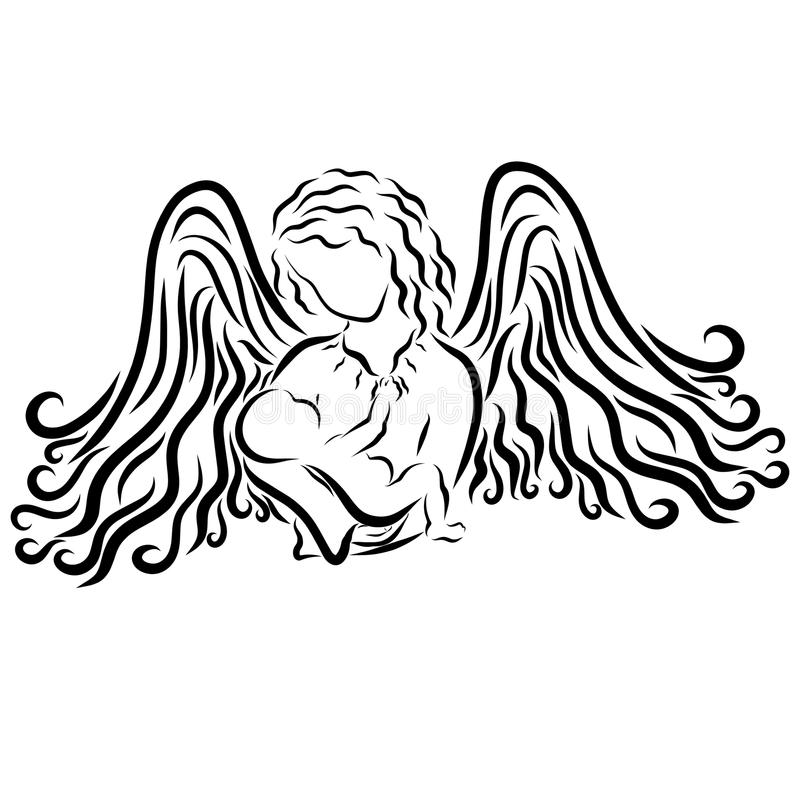 Angel admiring the baby, or winged affectionate mother.  stock illustration