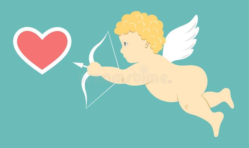 Angel Amur Cupid nas asas com Iso do sinal do ícone da seta e do coração da curva ilustração do vetor