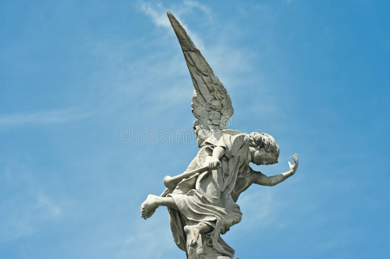 Angel, falling angel on cemetery in Buenos Aires royalty free stock photo