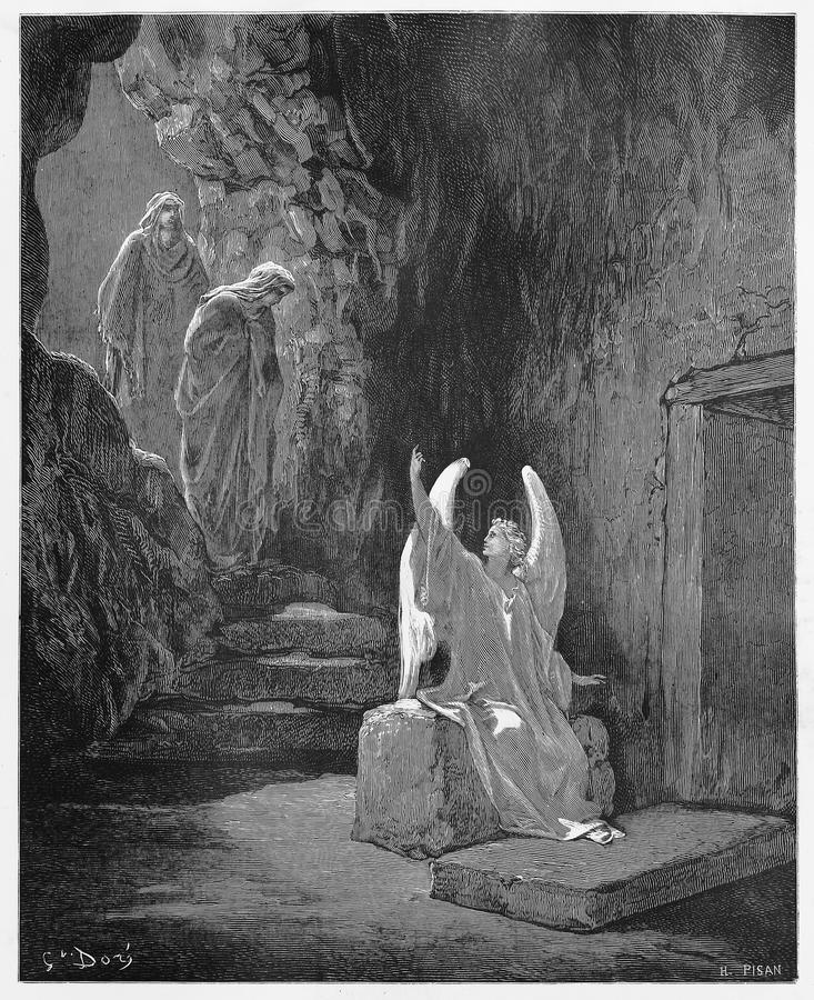 An angel announces that Jesus has risen. An angel announces to the women that Jesus has risen - Picture from The Holy Scriptures, Old and New Testaments books