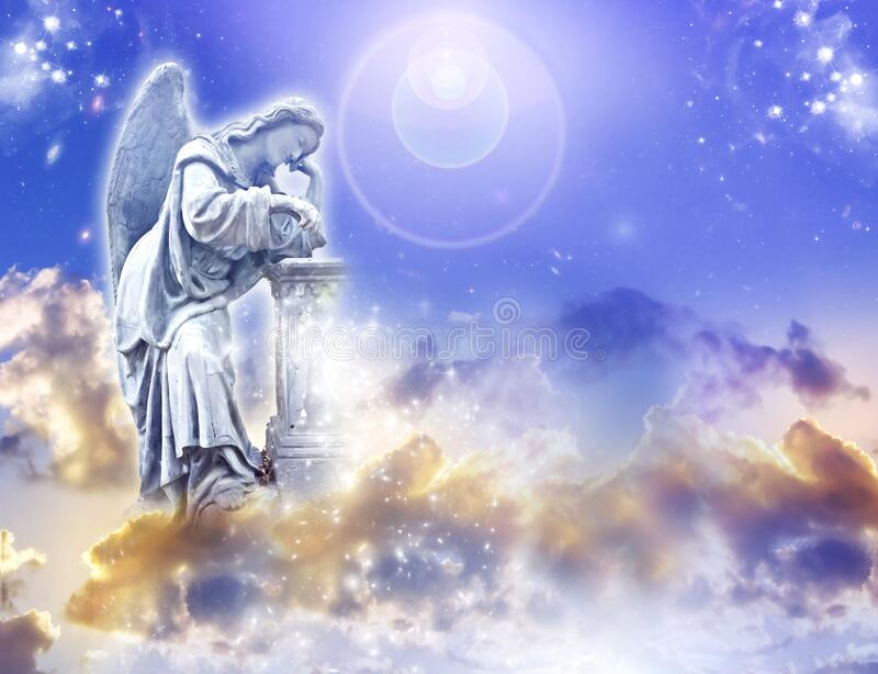 Angel archangel with divine sky and copy space stock photo