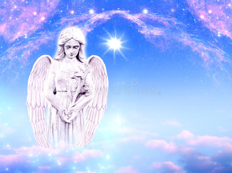 Angel archangel Gabriel. With mystical lili over blue pink background with stars and copy space stock photos