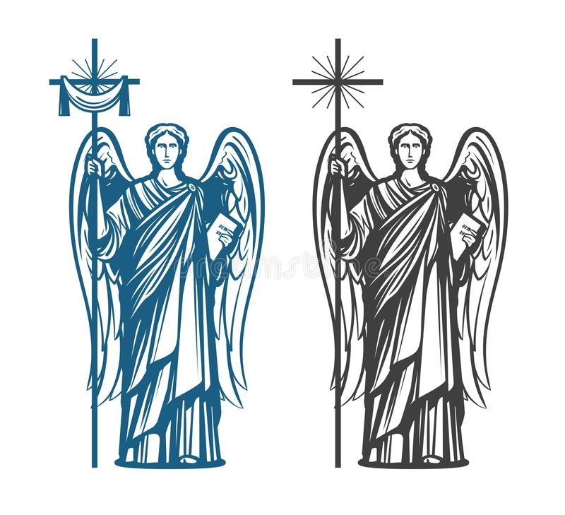 Angel, Archangel with wings. Bible, religion, belief, worship concept. Vintage sketch vector illustration. Angel with wings. Religion, belief, worship concept royalty free illustration