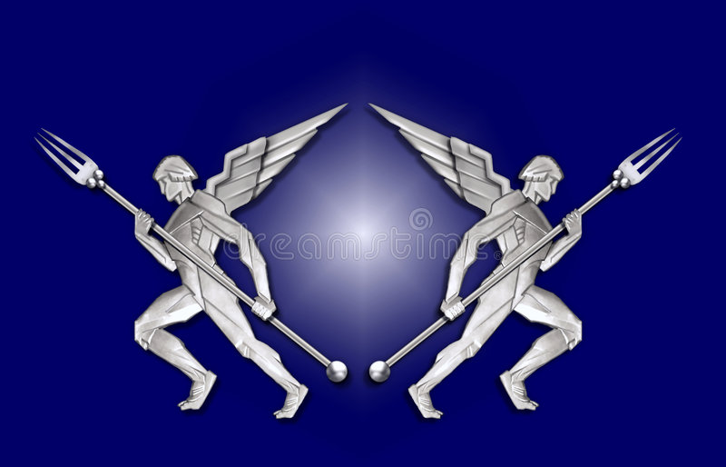 angel art deco fork frame silver w бесплатная иллюстрация