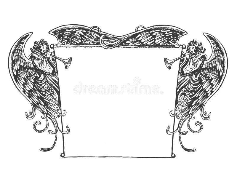 Angel Banner tappningstil stock illustrationer