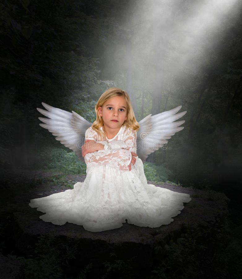 Angel Beautiful Young Girl, Peace stock image