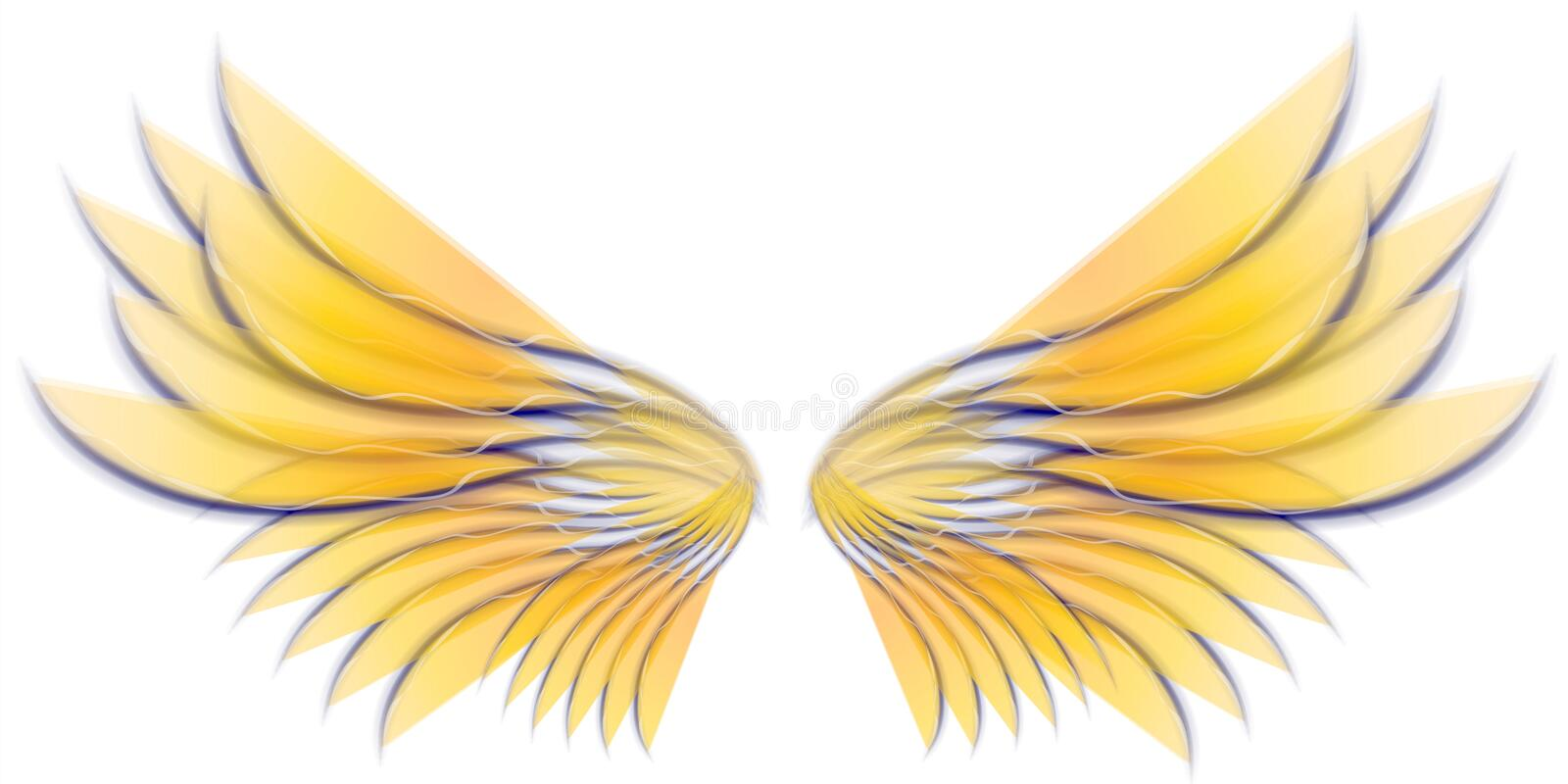 Angel Bird or Fairy Wings 3. A clip art illustration of isolated fairy, angel or bird wings in golden yellow to white colors royalty free illustration