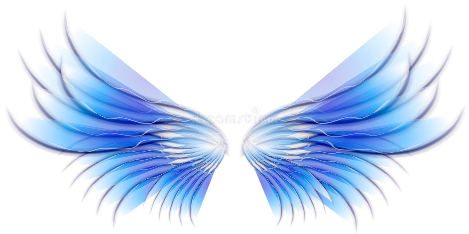 Angel Bird or Fairy Wings Blue. A clip art illustration of isolated fairy, angel or bird wings in blue colors vector illustration