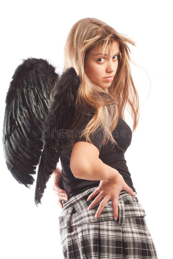 Angel with black wings royalty free stock image
