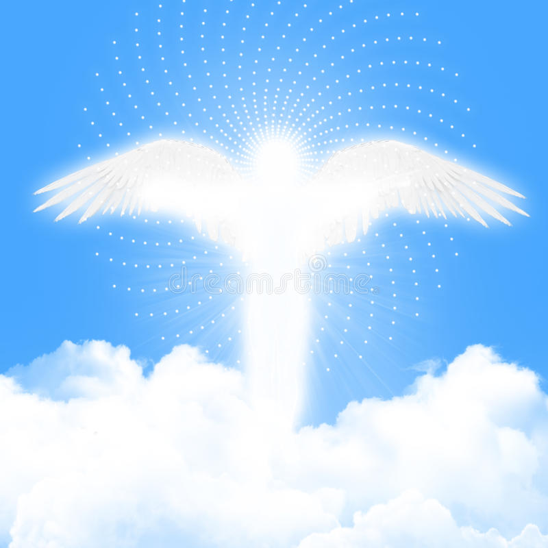 Angel in the blue sky vector illustration