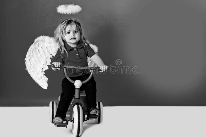 Angel boy for valentine greeting, beautiful cupid on bike. Angel boy on red background for valentine greeting, beautiful cupid on bike with blonde hair and halo stock images