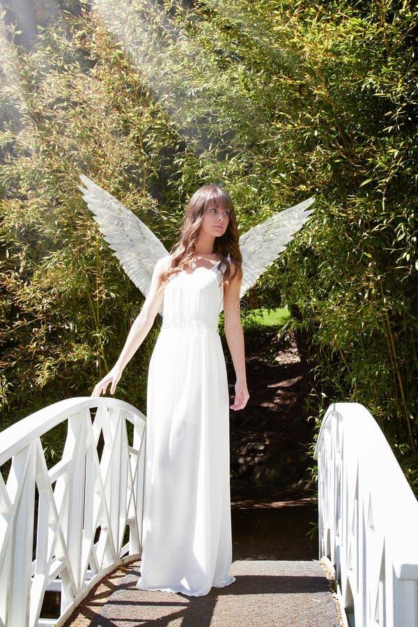 Angel on bridge stock images