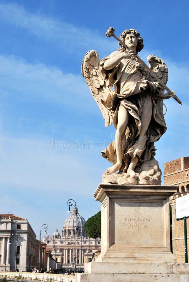 An angel on the bridge of Catel Sant'Angelo royalty free stock photography
