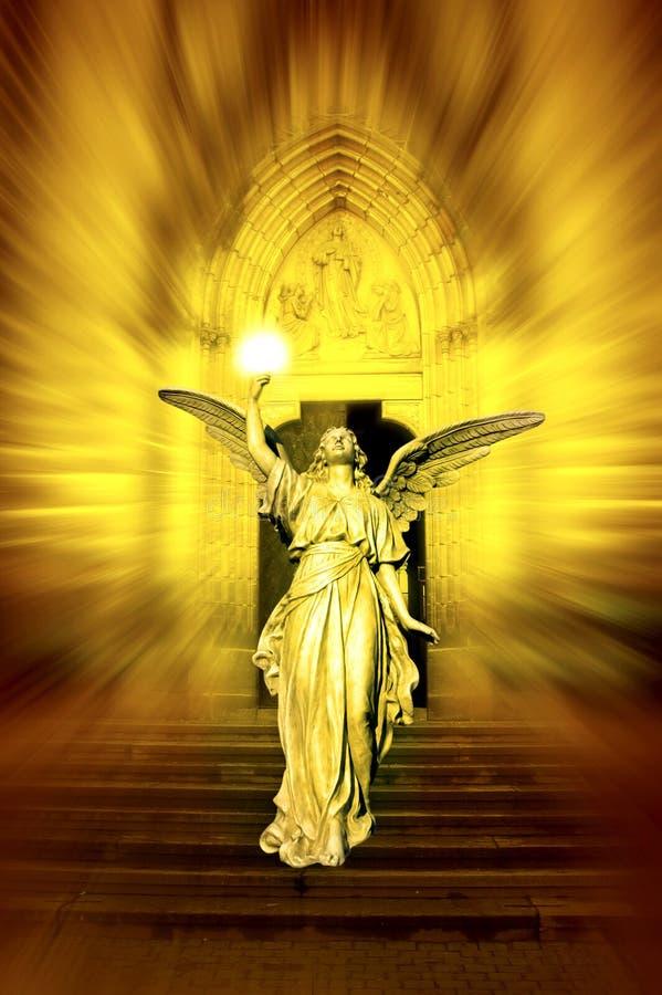 Angel bringing divine light stock image