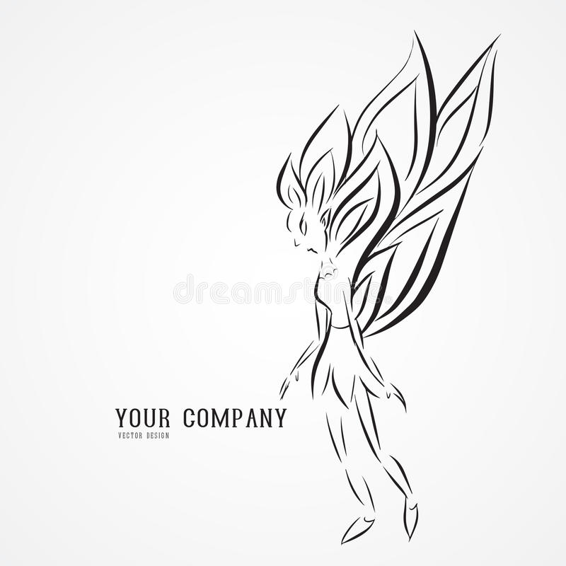 Angel Butterfly Logo Vector Illustration Queen Drawing Outline