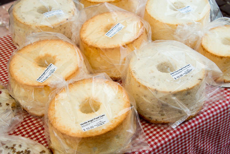 Angel cakes at a farmers market stock photos