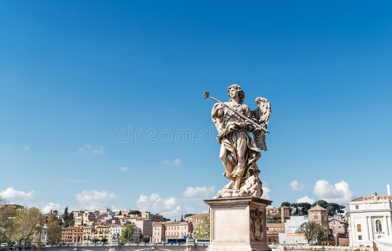 Angel Carrying the Sponge, by Antonio Giorgetti on Ponte Sant`Angelo Aelian Bridge or Pons Aelius in Rome, Italy royalty free stock photography