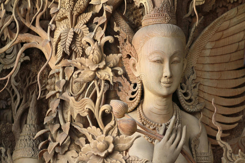 Angel Carved wood Thai style. From thailand royalty free stock image