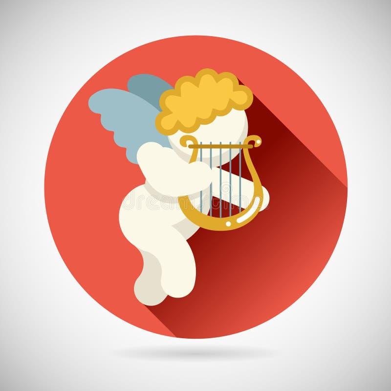 Angel Cherub Symbol Baby Boy com ícone da lira da harpa ilustração do vetor