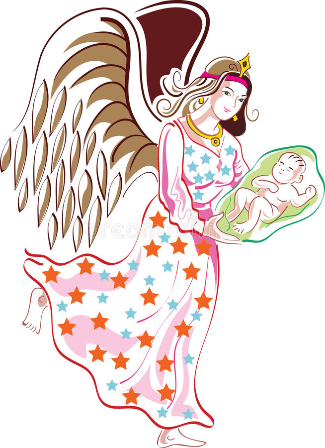 Download Angel with child stock vector. Image of faith, illustrated - 14722895