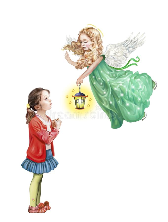 Angel and child stock illustration