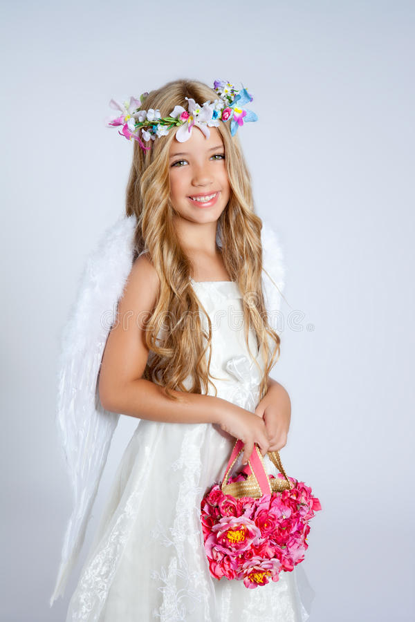 Download Angel Children Girl Holding Flowers Bag With Wings Royalty Free Stock Image - Image: 20510136