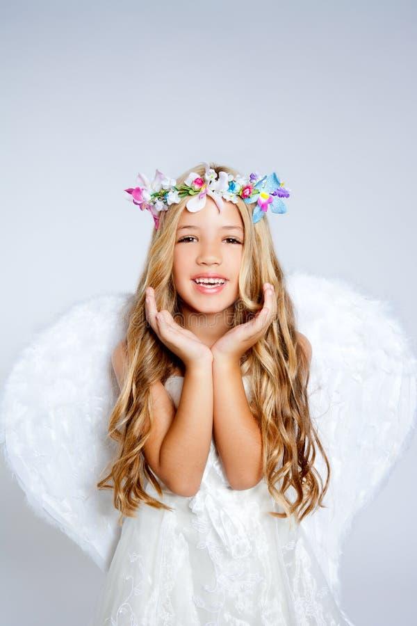 Angel children girl open hands gesture stock image